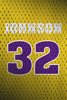 Magic Johnson Mixed Media - Magic Johnson Los Angeles Lakers Number 32 Retro Vintage Jersey Closeup Graphic Design by Design Turnpike