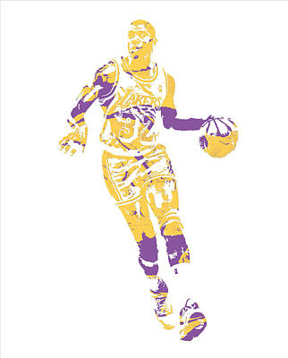 Magic Johnson Mixed Media - Magic Johnson Los Angeles Lakers Pixel Art 10 by Joe Hamilton