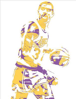 Magic Johnson Mixed Media - Magic Johnson Los Angeles Lakers Pixel Art 6 by Joe Hamilton