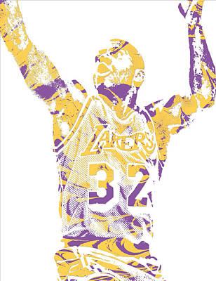 Magic Johnson Mixed Media - Magic Johnson Los Angeles Lakers Pixel Art 7 by Joe Hamilton