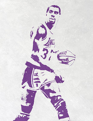 Basket Ball Mixed Media - Magic Johnson Los Angeles Lakers Pixel Art by Joe Hamilton