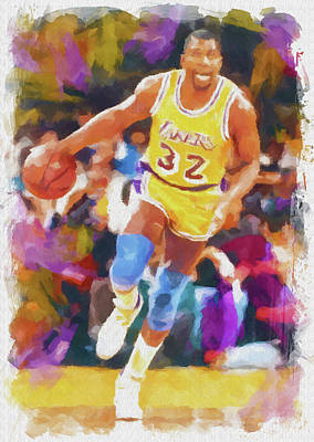 Athletes Royalty-Free and Rights-Managed Images - Magic Johnson by Ricky Barnard