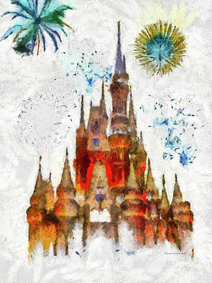 City Hall Mixed Media - Magic Kingdom Castle With Fireworks 03 by Thomas Woolworth