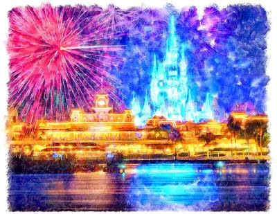 Fireworks Painting - Magic Kingdom Fireworks by Chad Enslen