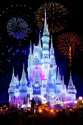 Fantasy Royalty-Free and Rights-Managed Images - Magic Kingdom Fireworks by Mark Andrew Thomas