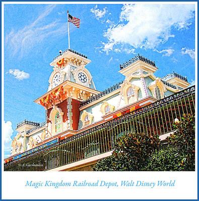 Digital Art - Magic Kingdom Train Station, Walt Disney World by A Gurmankin