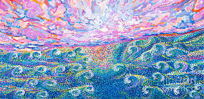 Painting - Magic Moon And Sea Swell by Expressionistart studio Priscilla Batzell