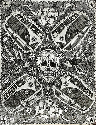 Sugar Skull Drawing - Magic Muerto Bus by John Parish