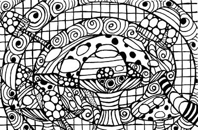 Drawing - Magic Mushroom Tangle by Nada Meeks