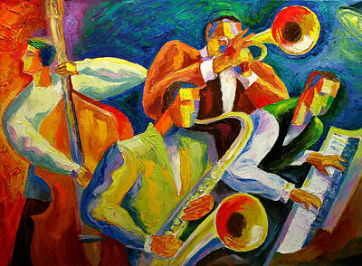Musicians Paintings - Magic Music by Leon Zernitsky