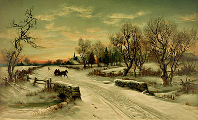 Pathway Drawing - Magic Of Christmas by Helen Barth
