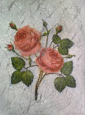 Antique Look Painting - Magic Roses Antique Look Art by Georgeta  Blanaru