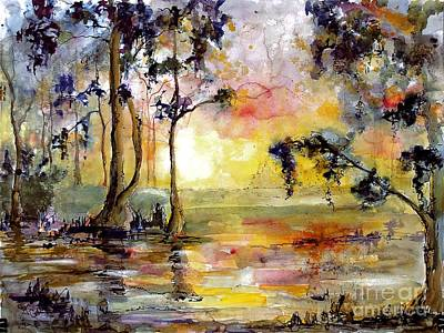 Painting - Magic Wetland Sunrise Morning by Ginette Callaway