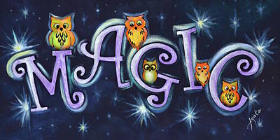 Painting - Magic With Owls by Agata Lindquist
