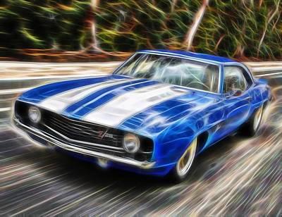 Camero Drawing - Magical 1969 Camaro by Paul Van Scott