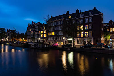 Magical Amsterdam Night - Charming Little Pink Car On The Canal Bank Art Print
