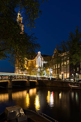 Photograph - Magical Amsterdam Night - Westerkerk Through The Trees by Georgia Mizuleva