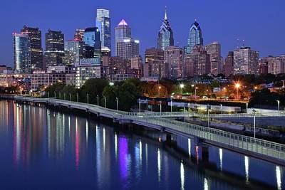 Philadelphia Skyline Photograph - Magical Blue Hour Night by Frozen in Time Fine Art Photography