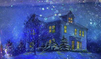 Painting - Magical Blue Nocturne Home Sweet Home by Judith Cheng