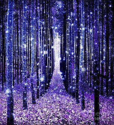 Pathway Digital Art - Magical Forest Blue Purple by Johari Smith
