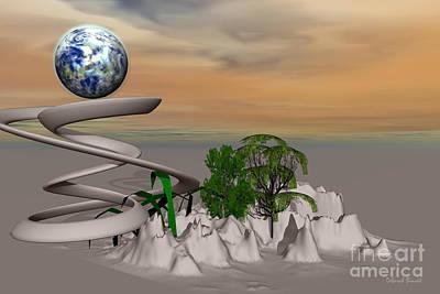 Framed Digital Art Mixed Media - Magical Island by Deborah Benoit