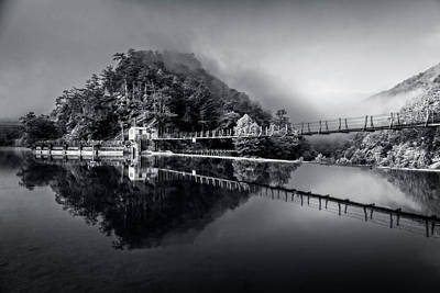 Photograph - Magical Misty Morning At The Ocoee In Black And White by Debra and Dave Vanderlaan