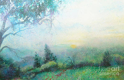 Midwest Artist Painting - Magical Misty Sunrise by Sharon Nelson-Bianco