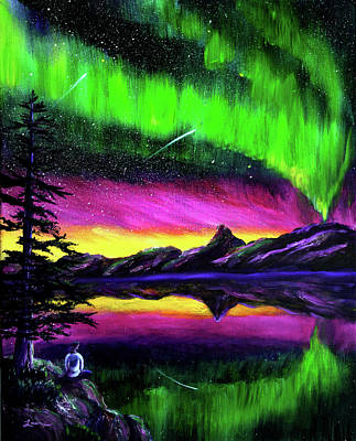 Meditating Painting - Magical Night Meditation by Laura Iverson