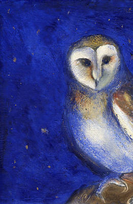Colored Owl Painting - Magical Night One by Nancy Moniz