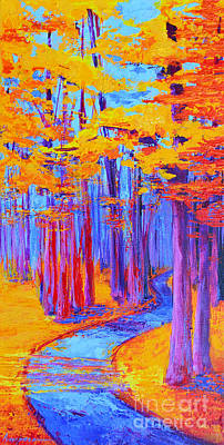 Magical Path - Enchanted Forest Collection - Modern Impressionist Landscape Art - Palette Knife Work Art Print by Patricia Awapara