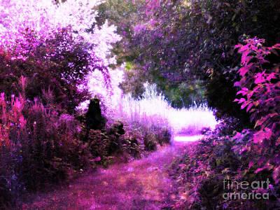 Flower Pink Fairy Child Digital Art - Pink Fantasy Garden Path by Johari Smith