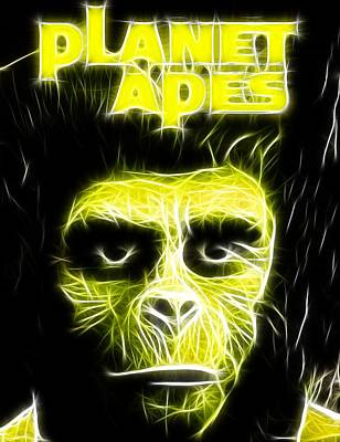 Chimpanzee Drawing - Magical Planet Of The Apes by Paul Van Scott