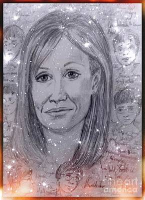 Drawing - Magical Portrait Of J K Rowling by Joan-Violet Stretch