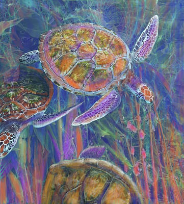 Painting - Magical Sea Turtles  by Julianne Ososke