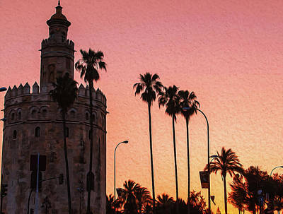 Painting - Magical Seville, Torre Del Oro At Sunset by Andrea Mazzocchetti