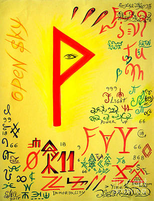 Wiccan Drawing - Magical Symbol - Wunjo Rune - Wekhtar by Sofia Metal Queen
