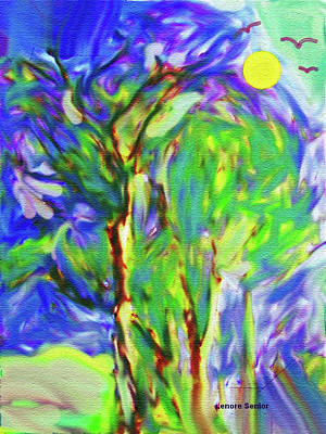 Impressionist Mixed Media - Magical Trees V2 by Lenore Senior