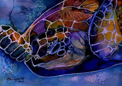 Kauai Artist Painting - Magical Turtle 4 by Marionette Taboniar