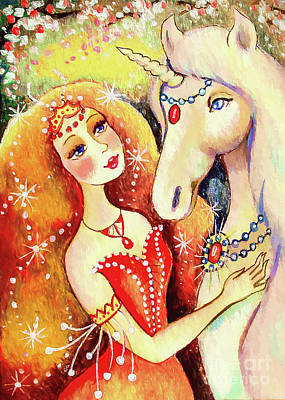 Painting - Magical Unicorn Fairy by Eva Campbell