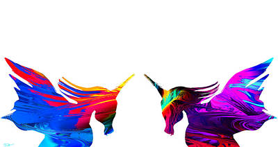 Digital Painting - Magical Unicorn Sisters by Abstract Angel Artist Stephen K
