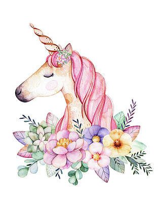 Girl Wall Art - Digital Art - Magical Watercolor Unicorn by Lisa Spence