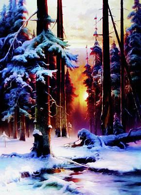 Pine Trees Mixed Media - Magical Winter Night by Georgiana Romanovna