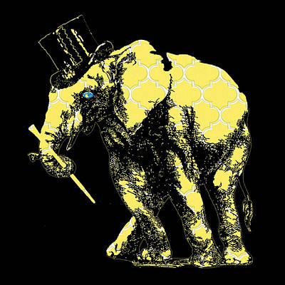 Black Top Digital Art - Magician Elephant by Brandi Fitzgerald