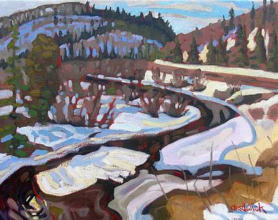 Snow Melt Painting - Magnetawan Morning by Phil Chadwick