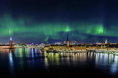 Photograph - Magnificent Aurora Dancing Over Stockholm by Dejan Kostic