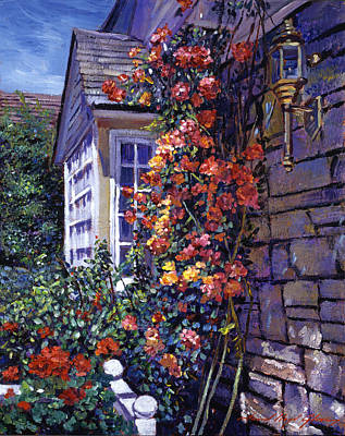 Rose Bushes Painting - Magnificent Climbing Roses by David Lloyd Glover