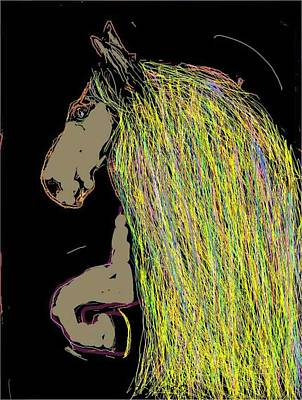 Digital Art - Magnificent Mane Black by Kathy Barney