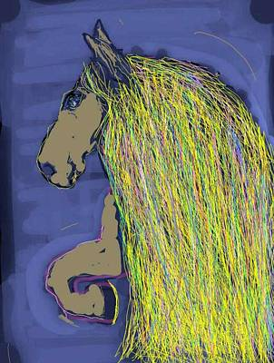 Digital Art - Magnificent Mane Blue by Kathy Barney