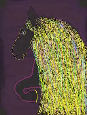 Digital Art - Magnificent Mane Purple by Kathy Barney