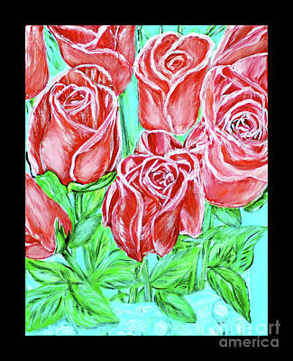 Painting - Magnificent Roses. Painting. Black Frame by Oksana Semenchenko